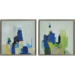 Maska - 25 Inch Square Oil Painting Wall Art (Set of 2)