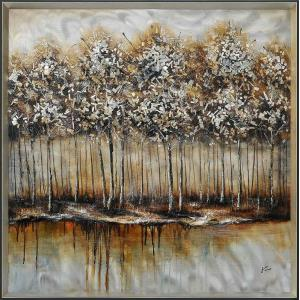 Metallic Forest - 40 Inch Large Square Decorative Wall Art