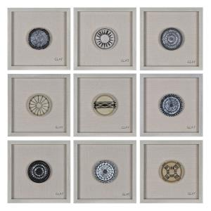 Buttons - 16 Inch Small Square Decorative Wall Art (Set Of 9)