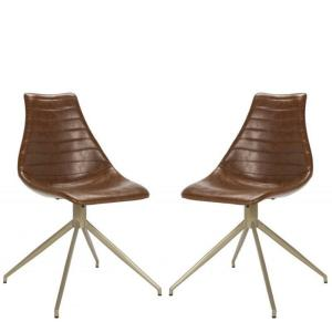 Lynette - 34 Inch Midcentury Modern Leather Swivel Dining Chair (Set of 2)