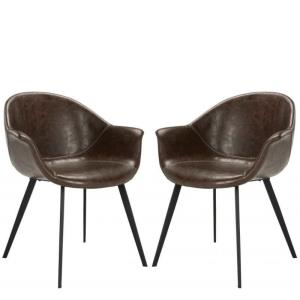 Dublin - 31.89 Inch Midcentury Modern Leather Dining Tub Chair (Set of 2)