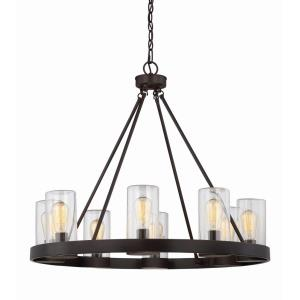 8 Light Outdoor Chandelier - Transitionalstyle with Industrial and Rustic inspirations - 27.63 inches tall by 32 inches wide