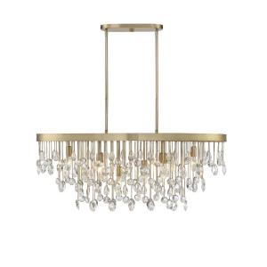 8 Light Linear Chandelier-Glam Style with Transitional and Eclectic Inspirations-15 inches tall by 15 inches wide