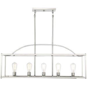 5 Light Linear Chandelier-16 inches tall by 12 inches wide