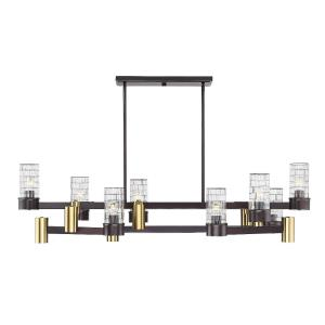 Bunker - Fourteen Light 2-Tier Linear Chandelier with LED Downlights
