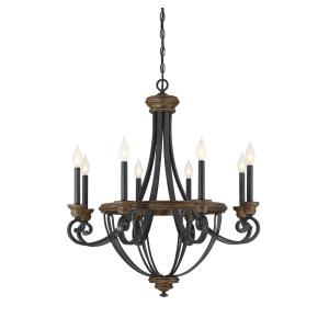 8 Light Chandelier - Traditionalstyle with Farmhouse and Country French inspirations - 32.5 inches tall by 29 inches wide