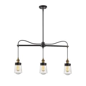 3 Light Linear Chandelier - Industrialstyle with Vintage and Contemporary inspirations - 23.5 inches tall by 35 inches wide