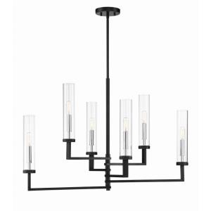 6 Light Linear Chandelier-Modern Style with Contemporary and Scandinavian Inspirations-21.73 inches tall by 16 inches wide