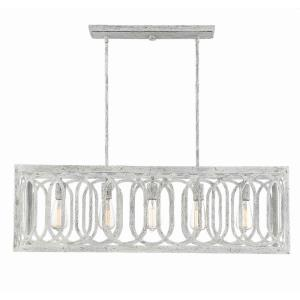 5 Light Linear Chandelier - Traditionalstyle with Shabby Chic and Coastal inspirations - 12.2 inches tall by 12.25 inches wide