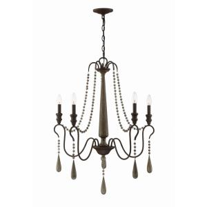 5 Light Chandelier - Traditionalstyle with Country French and Rustic inspirations - 36 inches tall by 28.5 inches wide