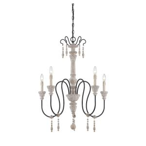5 Light Chandelier - Traditional style with Country French and Farmhouse inspirations - 35 inches tall by 28.5 inches wide