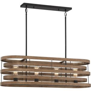4 Light Linear Chandelier - 14 inches tall by 10 inches wide