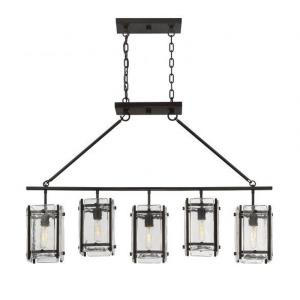 5 Light Linear Chandelier - Rusticstyle with Transitional and Industrial inspirations - 30.25 inches tall by 7 inches wide