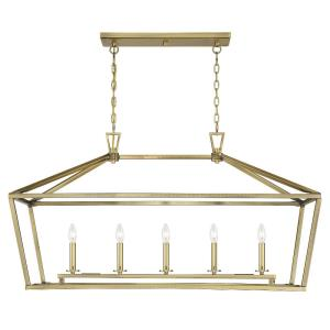 5 Light Linear Chandelier - Traditional style with Transitional and Bohemian inspirations - 23.5 inches tall by 16 inches wide