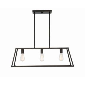 3 Light Linear Chandelier - Traditional style with Contemporary and Eclectic inspirations - 10.5 inches tall by 11 inches wide