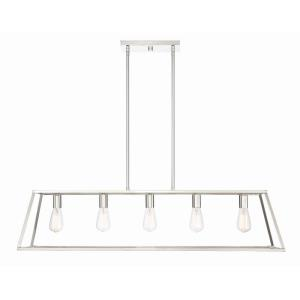 5 Light Linear Chandelier-Traditional Style with Contemporary and Eclectic Inspirations-10.5 inches tall by 11 inches wide