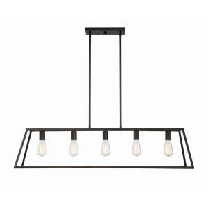 5 Light Linear Chandelier - Traditional style with Contemporary and Eclectic inspirations - 10.5 inches tall by 11 inches wide