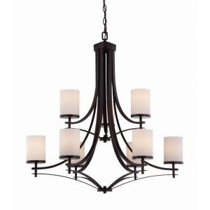 9 Light Chandelier-Transitional Style with contemporary Inspirations-33 inches tall by 32.5 inches wide
