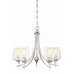 5 Light Chandelier - Transitionalstyle with Contemporary and Bohemian inspirations - 18.5 inches tall by 23 inches wide