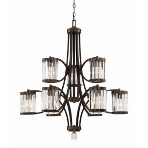 9 Light Chandelier - Traditionalstyle with Transitional inspirations - 36.5 inches tall by 32.5 inches wide