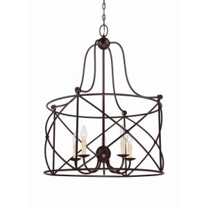5 Light Pendant-Transitional Style with Farmhouse and Rustic Inspirations-32.38 inches tall by 25.5 inches wide