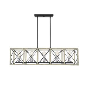5 Light Linear Chandelier - Farmhousestyle with Transitional and Rustic inspirations - 10 inches tall by 14 inches wide