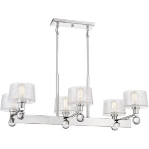6 Light Linear Chandelier - 15 inches tall by 22 inches wide