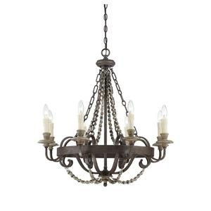 Mallory Chandelier 8 Light  Metal/Wood/Poly