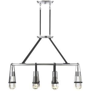 30W 6 LED Linear Chandelier - 26 inches tall by 13.5 inches wide