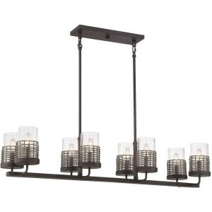 8 Light Linear Chandelier-9 inches tall by 12 inches wide