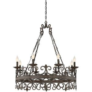 8 Light Chandelier - Traditionalstyle with Rustic and Country French inspirations - 30 inches tall by 35.5 inches wide