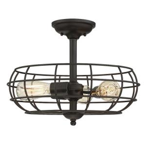 3 Light Semi-Flush Mount - Industrialstyle with Rustic inspirations - 12.5 inches tall by 16 inches wide