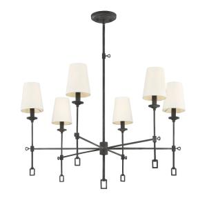 6 Light Chandelier - Farmhousestyle with Rustic and Traditional inspirations - 27 inches tall by 32 inches wide