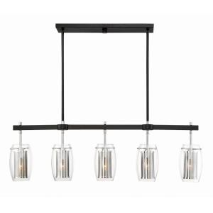 5 Light Linear Chandelier-Industrial Style with Contemporary and Modern Inspirations-12.5 inches tall by 40 inches wide