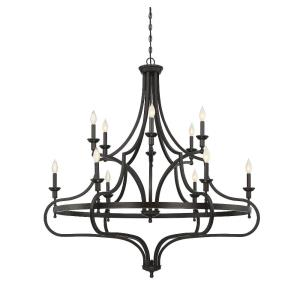 12 Light Chandelier - Traditionalstyle with Transitional and Farmhouse inspirations - 50.5 inches tall by 48 inches wide