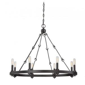 8 Light Chandelier - Farmhousestyle with Industrial inspirations - 26 inches tall by 32 inches wide