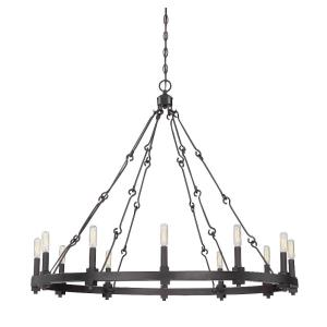 12 Light Chandelier - Farmhousestyle with Industrial inspirations - 33 inches tall by 38.5 inches wide