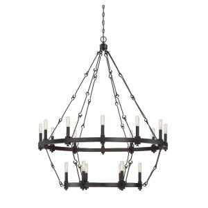 18 Light Chandelier-Farmhouse Style with Industrial Inspirations-39 inches tall by 38.5 inches wide