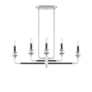 5 Light Linear Chandelier - Traditionalstyle with Transitional and Eclectic inspirations - 14 inches tall by 3 inches wide