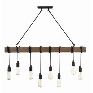 8 Light Linear Chandelier - Industrialstyle with Rustic and Farmhouse inspirations - 38.25 inches tall by 5 inches wide