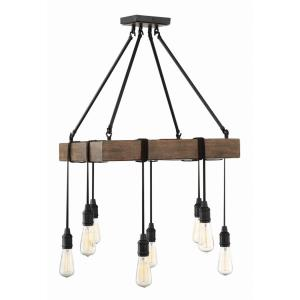 8 Light Pendant-Industrial Style with Rustic and Farmhouse Inspirations-36.5 inches tall by 22 inches wide