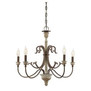 5 Light Chandelier - Shabby Chicstyle with Farmhouse and Rustic inspirations - 23 inches tall by 26 inches wide