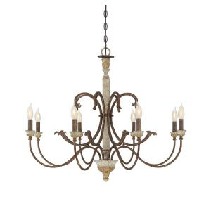 8 Light Chandelier - Shabby Chicstyle with Farmhouse and Rustic inspirations - 28 inches tall by 34 inches wide
