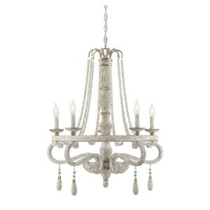 5 Light Chandelier - Shabby Chicstyle with Farmhouse and Rustic inspirations - 31 inches tall by 28 inches wide