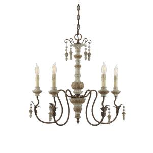 5 Light Chandelier - Shabby Chicstyle with Farmhouse and Rustic inspirations - 24 inches tall by 26 inches wide
