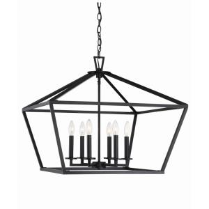 6 Light Foyer-Transitional Style with Contemporary and Farmhouse Inspirations-23 inches tall by 26 inches wide