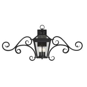 3 Light Outdoor Wall Lantern with Scroll - Modern Farmhousestyle with Rustic and Transitional inspirations - 16.5 inches tall by 38 inches wide