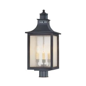 3 Light Outdoor Post Lantern - Modern Farmhousestyle with Rustic and Transitional inspirations - 23.75 inches tall by 10 inches wide