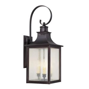 3 Light Outdoor Wall Lantern - Modern Farmhousestyle with Rustic and Transitional inspirations - 26.75 inches tall by 10 inches wide