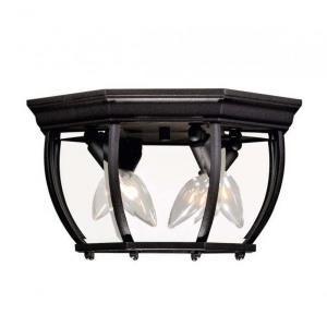 3 Light Outdoor Flush Mount-Traditional Style with Transitional Inspirations-7 inches tall by 9 inches wide